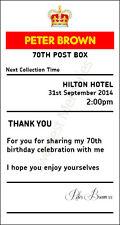 70th Birthday sign  4' x 7.5'  royal mail insert post box Card Box