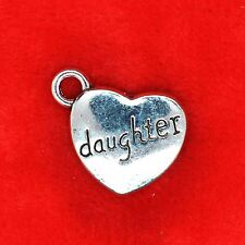 5 x Tibetan Silver Daughter Love Heart Charm Pendant Jewellery Making