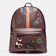 Coach Bag F12125 Charles Backpack in Smooth Calf Leather Varsity Patch Agsbeagle
