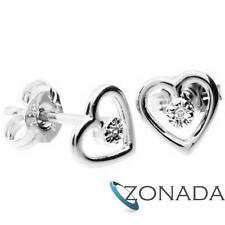 Diamond Baby Heart 9k Solid White Gold Stud Earrings W52592