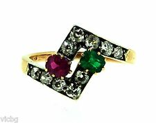 and Diamond Ring in 14K Gold Antique Victorian Toi Moi Ruby Emerald