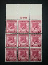 RIV: US MNH 645 Plate Block of Nine FRESH 1928 Valley Forge issue 2 cent mint 2K