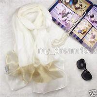 Fashion Women Long Print 100% Silk White Gold Scarf Wrap Ladies Shawl Scarve