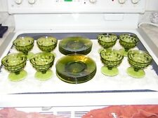 Depression glass, Desert cups and saucers, Green, 8 of each, never used