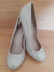 Next Woman's Gold Sparkly High Stiletto Heeled Court Shoes - Size 5 uk - 38 eu