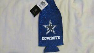 NFL Dallas Cowboys Blue Longneck Beer Bottle Koozie Holder Cooler Glitter New