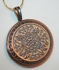 Lovely Swirled Floral Coppertoned Locket Pendant Necklace ++++