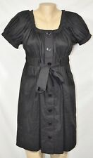 CONTEXT Black Shirt Dress 8 Short Sleeves Pleated Trim Lined Skirt Ties at Waist