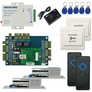 2 Doors TCP/IP Access Control Board Panel Kit Electric Bolt Lock Power Supply