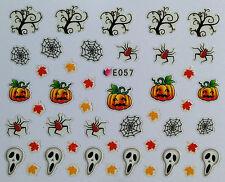 Halloween Nail Art Adesivi trasferimenti FANTASMI Zucche Ragni SMALTO GEL (E057)