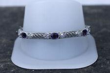 Stunning Judith Ripka Sterling Silver Bangle Amethyst and CZ bracelet- 14178