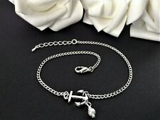 WHITE GLASS PEARL & ANCHOR CHARM SILVER CURB CHAIN ANKLET