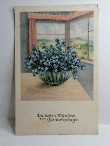 Künstler AK, Geburtstag, Schale mit Vergißmeinicht am Fenster, Erika Nr. 3283