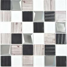 Crystal Glasmosaik silber Wand Küche Dusche Bad Fliesenspiegel 88-1717|10Matten