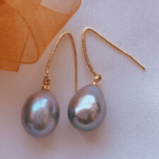 11-13MM Natural Drops Gray Pearl Earring 18KGB Holiday gifts Cultured Wedding