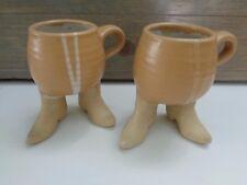 1981 Five Bridges Cowboy Boots Mug~Brown Stoneware~2 Mugs Coffee Tea Cup
