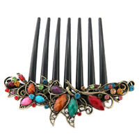 "Flower Mix Color Metal Rhinestone Wedding Hair Comb Pin Clip 4.22"" CT"