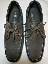 Rock & Republic Faux Leather Size 12M slip on with lace up men's dark grey shoes