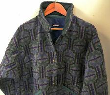 Vintage 1990's Patagonia Women's Aztec Tribal Button-Up Fleece Quilted Jacket M