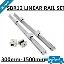 2xsbr12 Linear Rail Guide Shaft Rod L300mm1500mm Amp4x Sbr12uu Bearing Blocks Cnc
