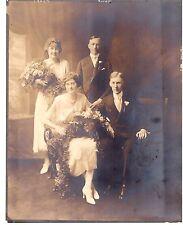 Antique Edwardian Wedding Photograph White Dresses Early 1900s 8 x 10 Bouquet