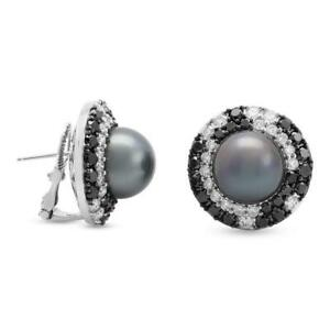 Dark Gray Round South Sea Pearls With Black & White CZ 925 Silver Stud Earrings