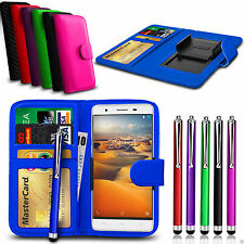 Clip On PU Leather Wallet Case Cover & Pen For HTC Desire 626s