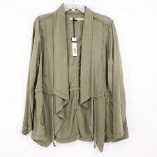 Max Jeans Womens Jacket Open Front Denim Utility Green Pockets Tie Waist XL New