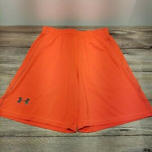 Under Armour Mens Size Large Neon Orange Loose Fit Athletic Basketball Shorts
