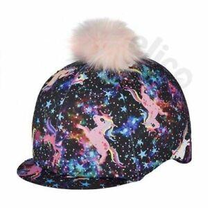 Elico Pony Fantasia Lycra Riding Hat Cover with Pink Pom Pom
