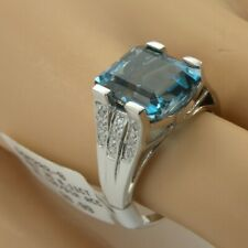 NEW London Blue Topaz Diamond Ring 10k White Gold Sz 8 High Cathedral 5.47 Grams