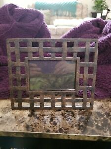 Vintage Old Frame Open Weave Hand Made Iron  Work Picture Photo Frame.