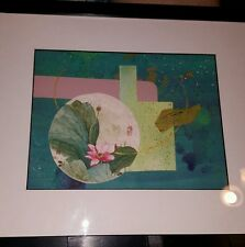 """Painting~LOIS JONES 11""""x13""""  peaceful ..water lily~Watercolor teal, blues, pink,"""