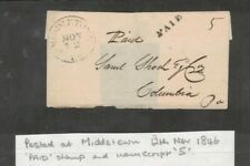 "USA 1846 PAID at MIDDLETON + Manuscript ""S"""