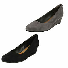 Clarks Wedge Leather Court Shoes for Women