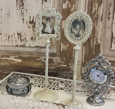 Set of 2 Cream Mini Photo Frame on a Stand Vintage Chic French Country Antique