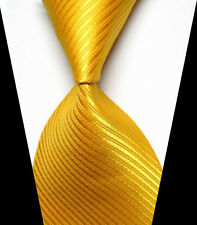 New Fashion Yellow Classic Striped WOVEN JACQUARD Silk Men's Suits Tie Necktie