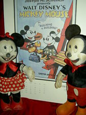 1940s vintage MICKEY & MINNIE MOUSE, GUND labeled tgd. DISNEY felt/plush dolls