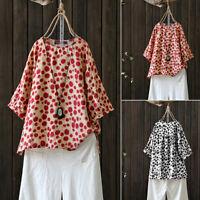 ZANZEA Women 3/4 Sleeve Round Neck Shirt Tops Cotton Polka Dot Oversize Blouse