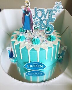 FROZEN PERSONALISED GLITTER CAKE TOPPER - 2 SIZES - ANNA OR ELSA