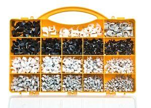 Brackit 1020 Piece Cable Clips Assortment Set – 4-10mm – Black, White & Grey