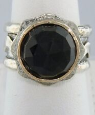 LADIES 925 SILVER 14K YELLOW GOLD 6.00ct ROUND AMETHYST FEBRUARY RING 7 3/4