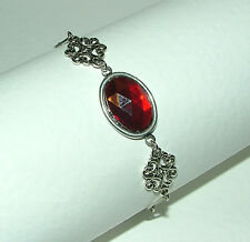LACY FILIGREE VICTORIAN STYLE RED ACRYLIC CRYSTAL SILVER PLATED BRACELET