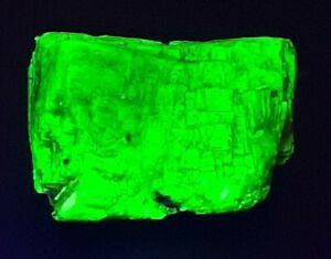 Fluorescent Autunite. Rare Uranium mineral High activity. Check source.