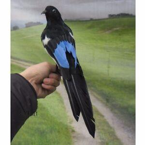Fake Artificial Magpie Bird Realistic Taxidermy Home Garden Decoration Toy 30cm