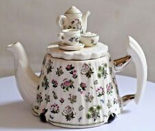PORTMEIRION BOTANIC GARDEN ~ Miniature Teapot With Coffee Pot, Sugar Bowl On Lid
