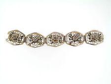 Vintage Spain Silver Blue Stone Accent Filigree Spanish Hat Guitar Link Bracelet