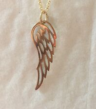 """Angel Wing Charm Necklace- Long 1 3/4"""" Bronze Wing with GT Chain 18"""""""