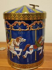"""Continental Bakeries Germany Blue Musical Carousel Horse Tin """"Away in a Manger"""""""