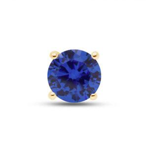 1/2 Carat Blue Sapphire Single Stud Mens 14K Yellow Gold Earrings